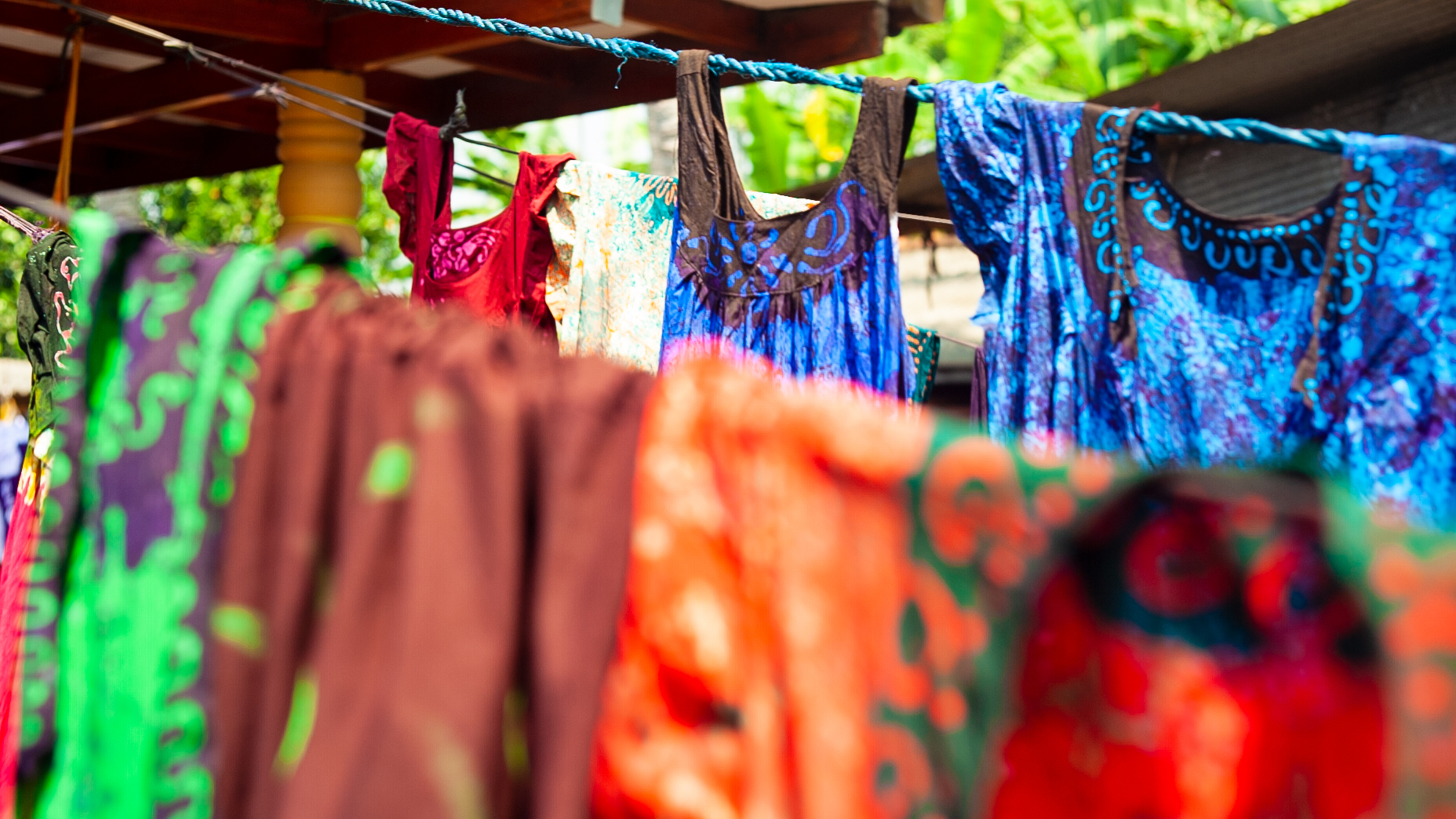 Local Batik design, hanging out to dry.