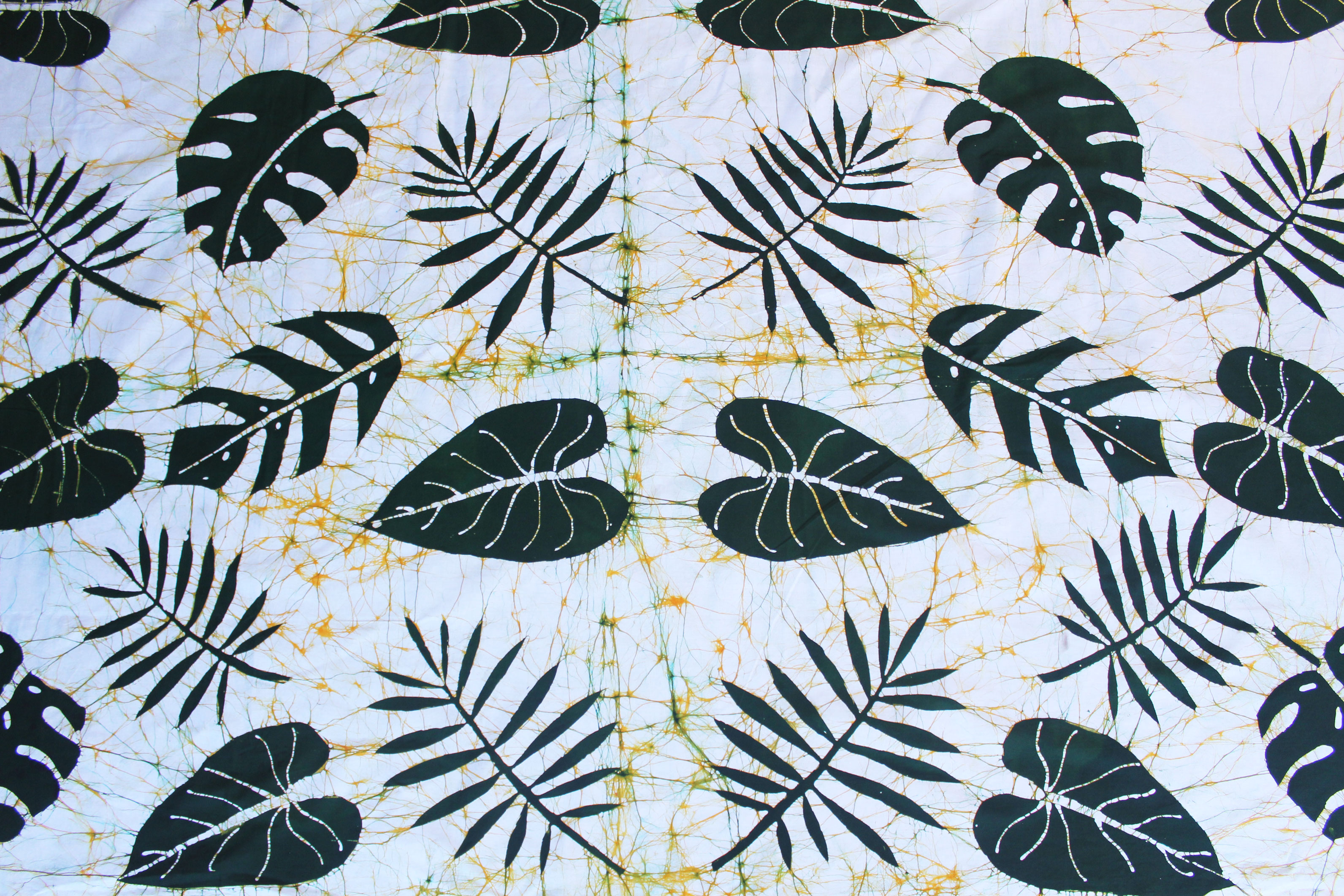 Batik with tropical leafs design.