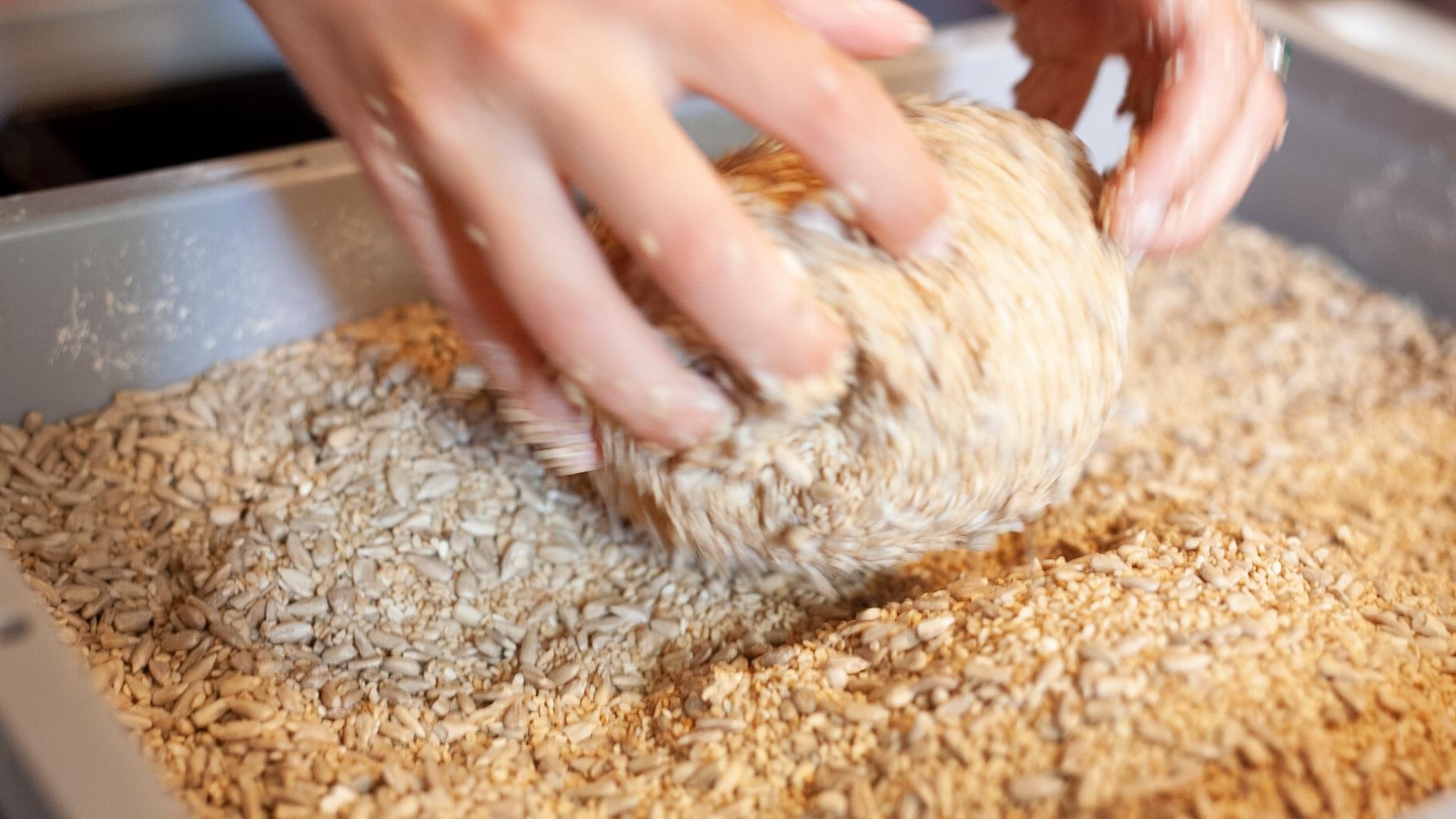 Adding seeds.