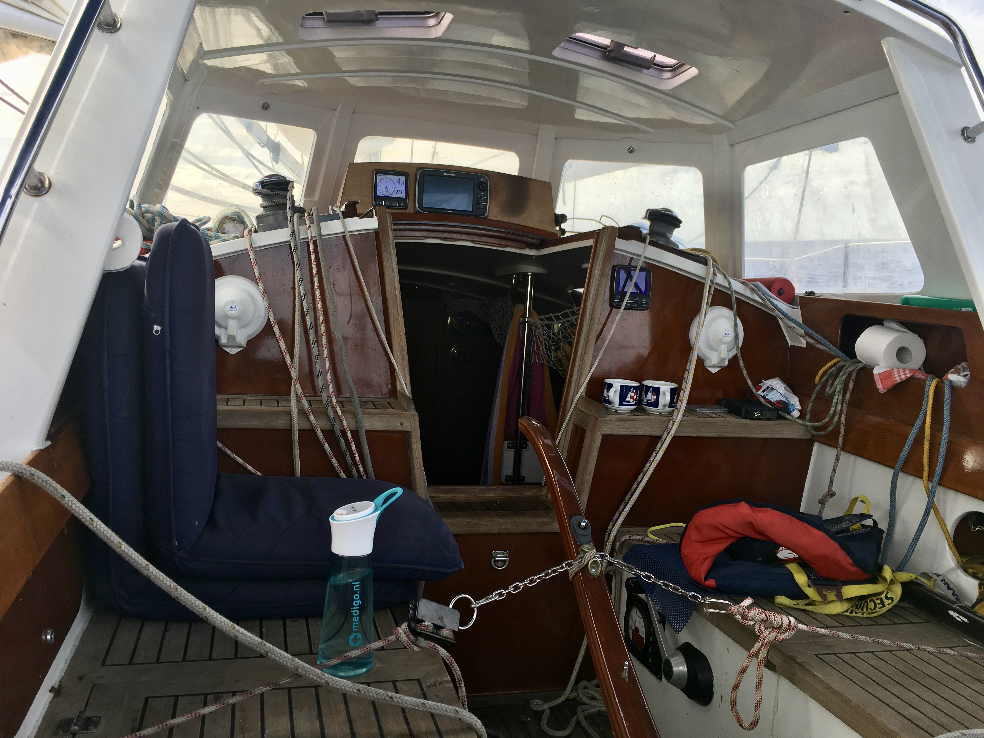 The inside of a sail boat.
