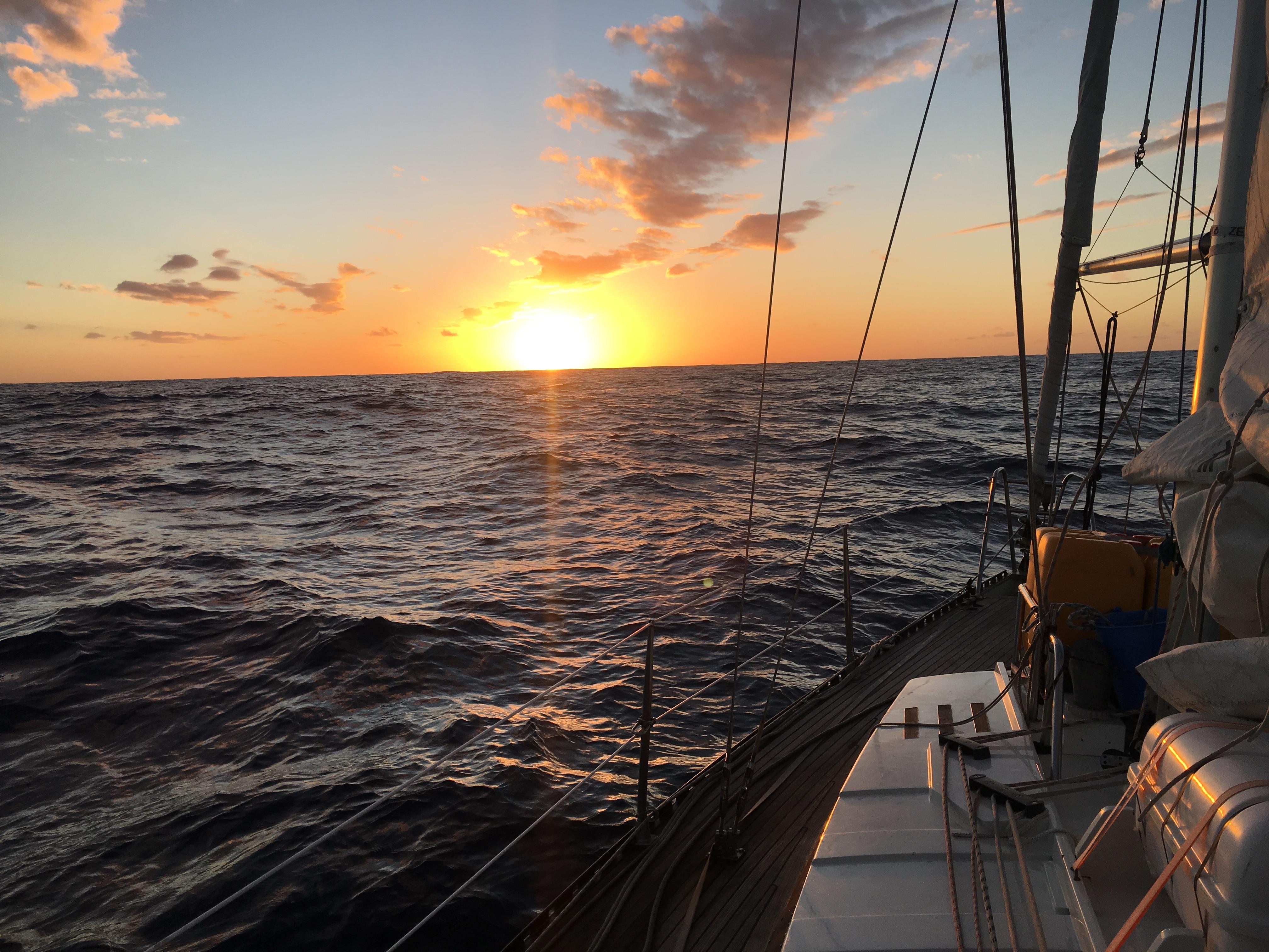 A sunrise in the Atlantic ocean.
